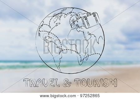 Luggage Travelling The World: Tourism And Travel Industry