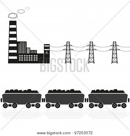 Coal Power Plant And Train With Coal Eps10