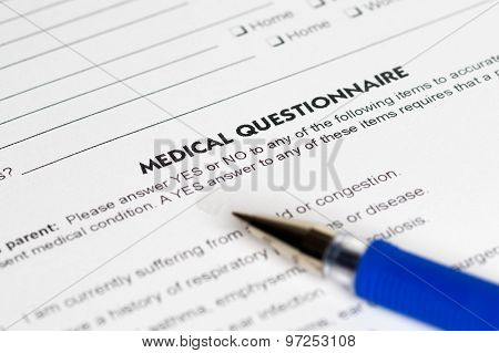 Medical Questions With Blue Pen
