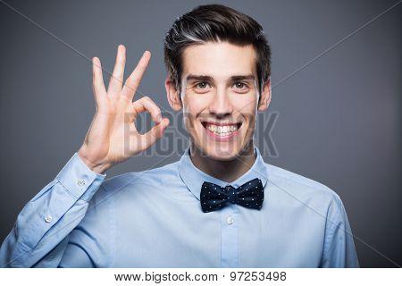 Man making OK sign