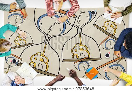 Time is Money Sandglass Investment Countdown Measure Concept