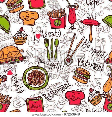 Restaurant symbols seamless pattern doodle sketch