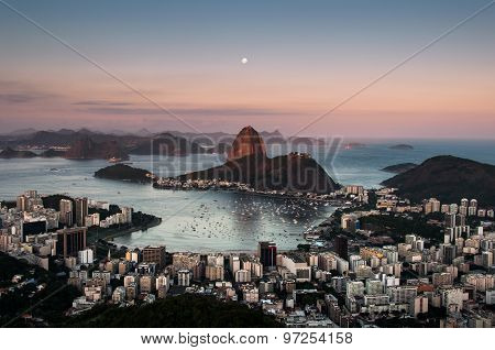 Sugarloaf Mountain with the Moon Above, Rio de Janeiro