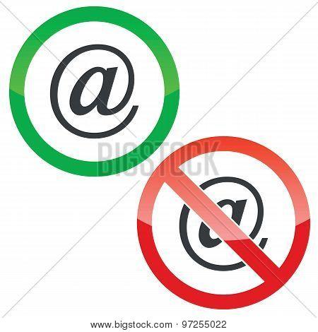 E-mail permission signs set