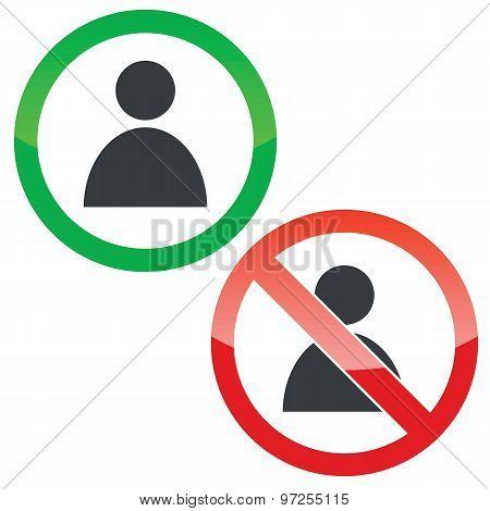 User permission signs set