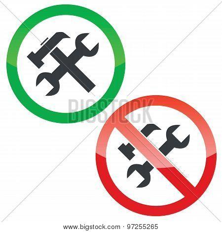 Repairs permission signs set
