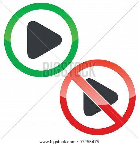 Play permission signs set