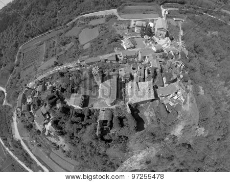Aerial view on small village Zavr�¡je in Istria, Croatia.