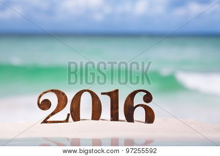 2016 numbers letters with starfish, ocean , beach and seascape, shallow dof