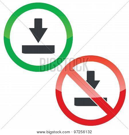 Download permission signs set