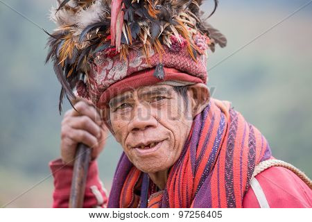 Portrait Of An Old Warrior Tribe Ifugao. Province Banaue, Philippines