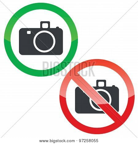 Photography permission signs set
