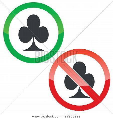 Clubs permission signs set