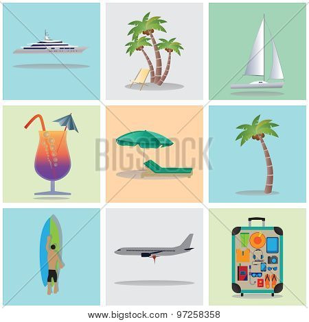 Travel, Vacation, Holiday. Icons. Elements For Design.