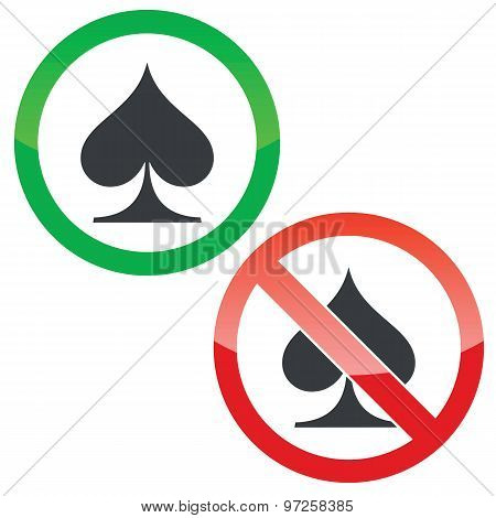 Spades permission signs set