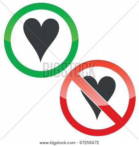 Hearts permission signs set