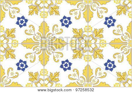 Traditional ornate portuguese tiles azulejos. Vector illustration.
