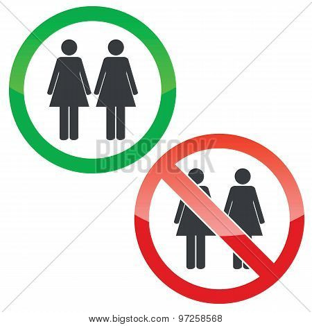 Two women permission signs set