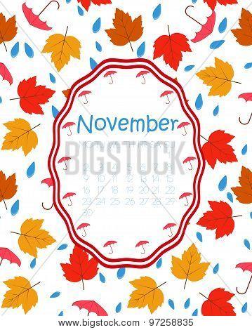 Colorful calendar for November