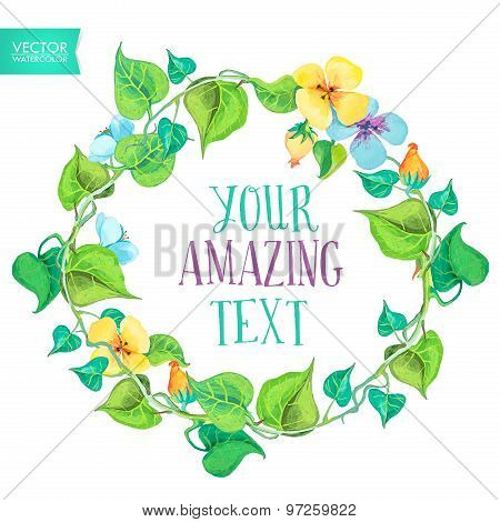 Floral wreaths. Vector watercolor colorful circular floral wreaths with beautiful flowers. Hand draw