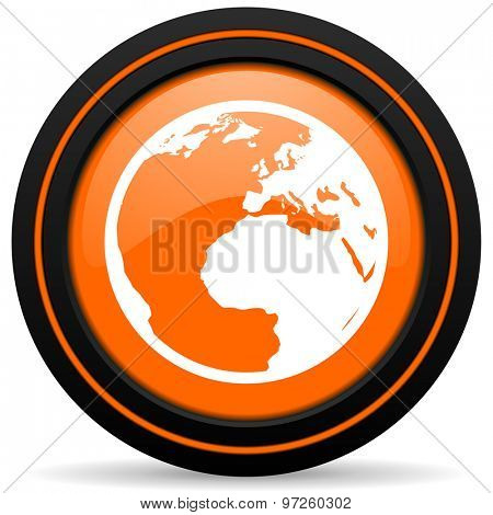 earth orange icon world sign