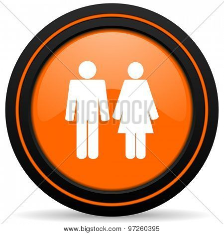 couple orange icon people sign team symbol