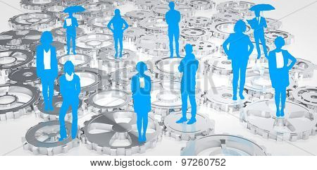 Blue business silhouette against cogs and wheels
