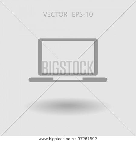 Flat icon of laptop