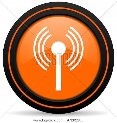 wifi orange icon wireless network sign
