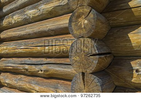 Fragment Of The Wall Of An Old Log Hous