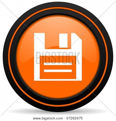 disk orange icon data sign