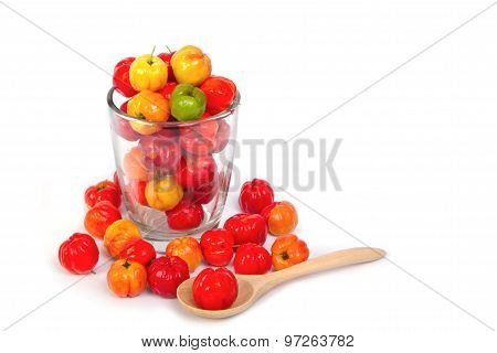 Barbados Cherry In Glass Bowl