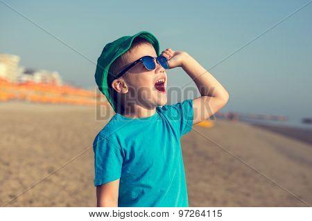 Little Boy Shouting On Beach Vintage