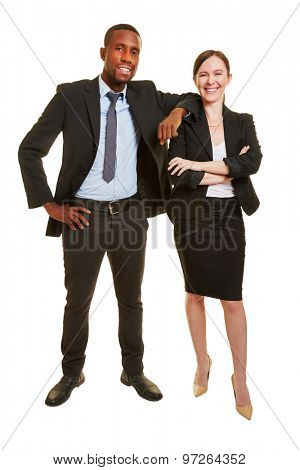 Man and woman standing together as successful business people