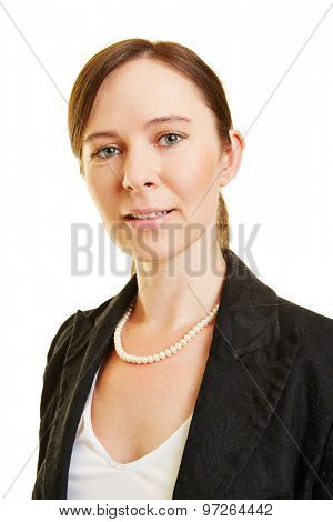 Head shot of attractive confident businesswoman smiling