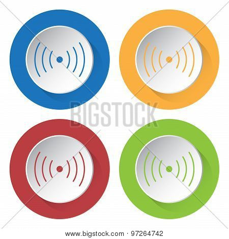 Set Of Four Icons - Sound Or Vibration