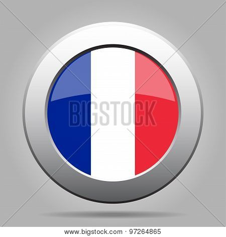 Metal Button With Flag Of France