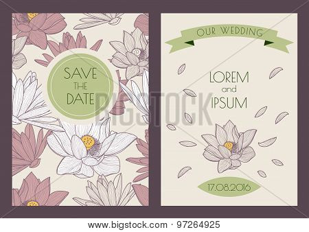 Set Of Vector Floral Vintage Backgrounds. Hand Drawn Lotus Flowers, Seamless Pattern.