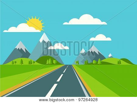 Vector Landscape Background. Road In Green Valley, Mountains, Hills, Clouds And Sun On The Sky.