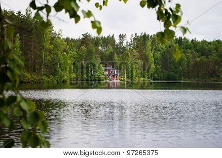 House at the lake.