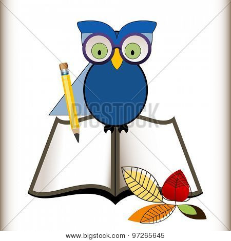 Wise owl with an open book, pencil and fall leaves,  back to school concept