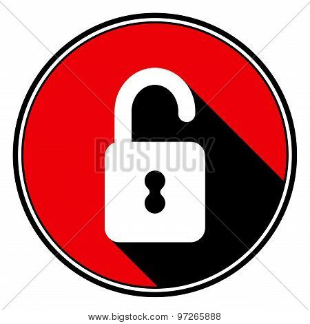 Red Information Icon - White Open Padlock