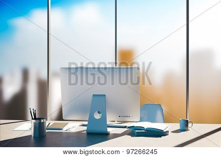 3d office workplace with skyline in the background