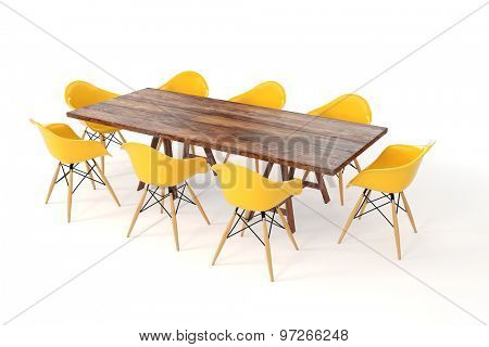 3d wooden table and chairs on white background