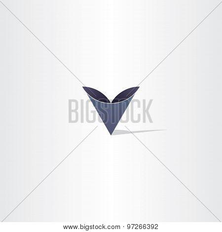 Deep Blue Abstract Letter V Symbol Logo