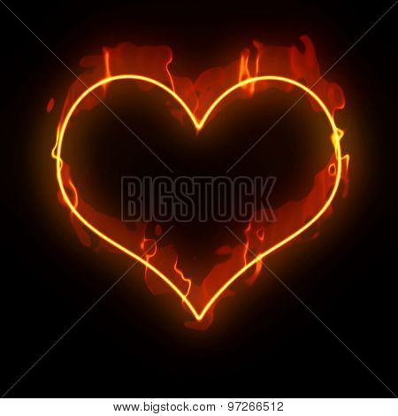 An image of a heart in flames