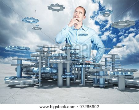 portrait of thinking man and 3d plan