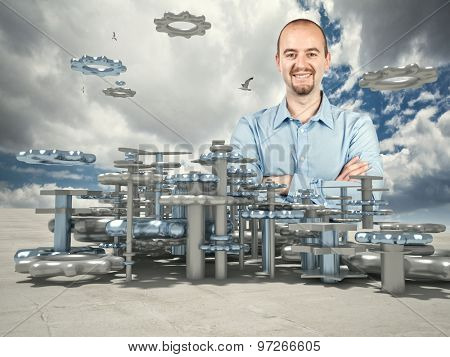 smiling man and 3d industry plan