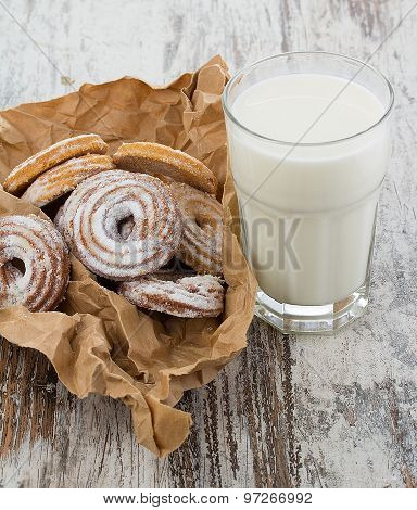 Seet Fresh Cookies With A Cup Of Milk Over Wooden Vintage Background