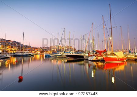 Yachts in Mikrolimano marina.